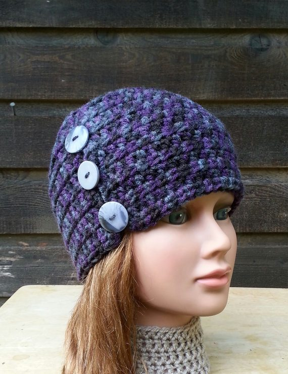 crochet buttons hat