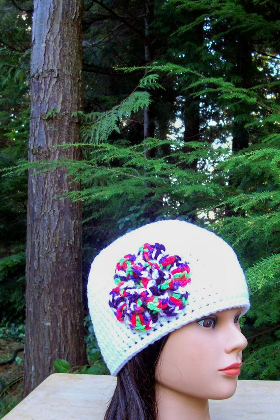 crochet flower hat Crochet on Etsy: Skullcap with Button and other crochet hats
