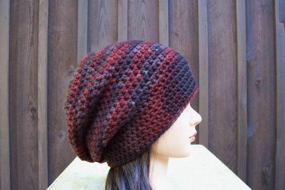 crochet slouch hat Crochet on Etsy: Skullcap with Button and other crochet hats