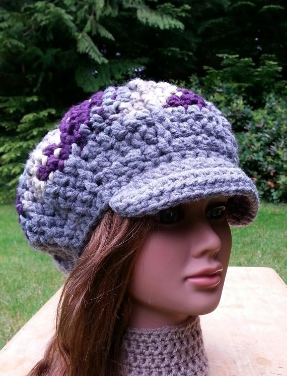 purple crochet hat Crochet on Etsy: Skullcap with Button and other crochet hats