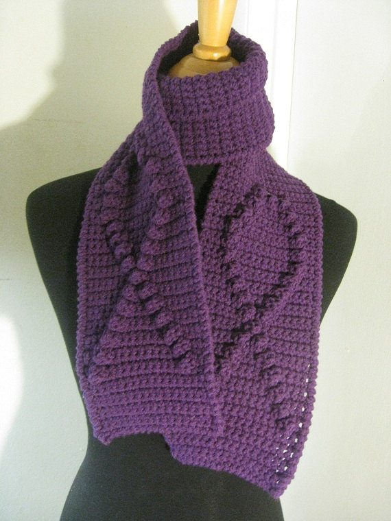 awareness crochet scarf purple Crochet on Etsy: Crochet Cloche and Ribbon Awareness Scarves