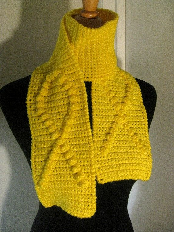awareness crochet scarf yellow Crochet on Etsy: Crochet Cloche and Ribbon Awareness Scarves