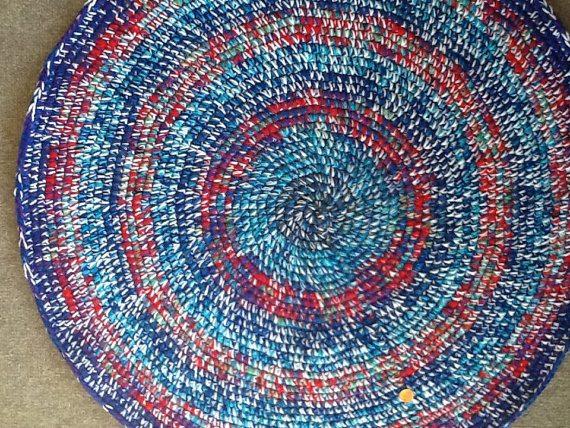 blue crochet round rug