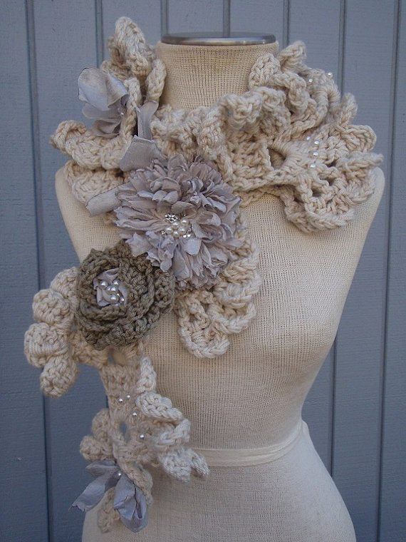 crochet art scarf Crochet on Etsy: Seashell Neck Warmers