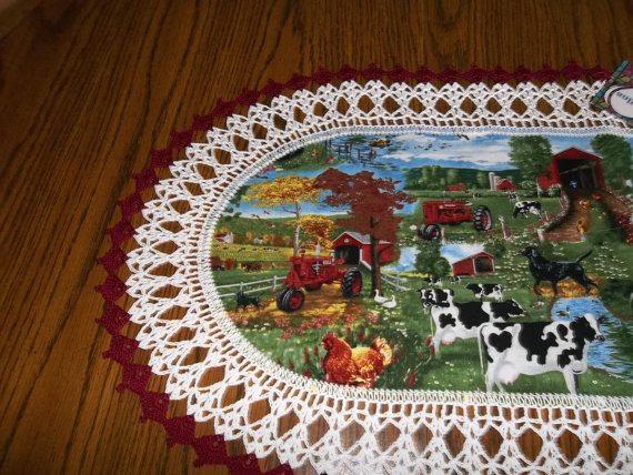 crochet farm table runner