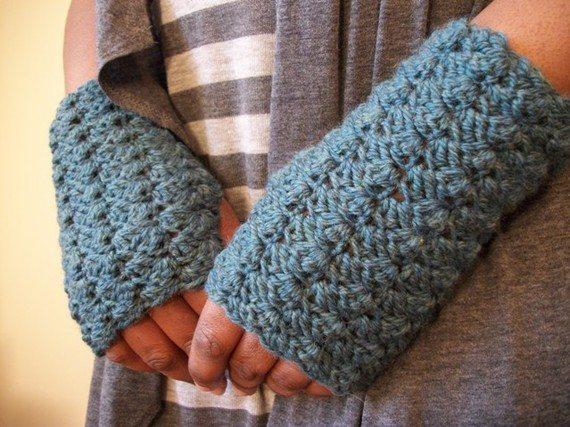 crochê padrão de luvas sem dedos