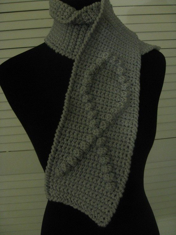 grey awareness crochet scarf