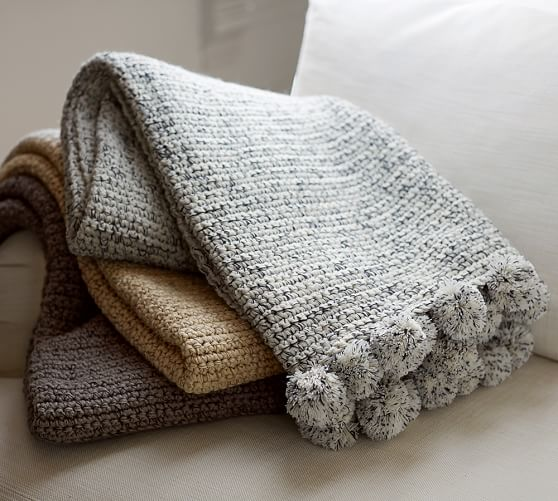 pottery barn crochet blanket