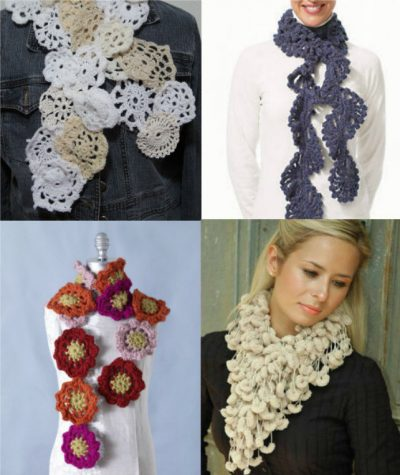 crochet scarves 400x475 25 Different Ideas for Crocheting a Scarf