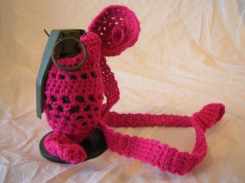 205398041 9dc8c91c33 Grenade Cozies from Crochet Artist Barbara Koenen
