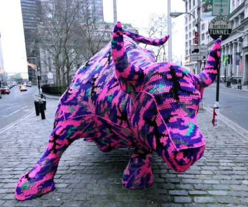 charging bull crocheted agata olek 500x417 One Year Ago in Crochet (And a Quiet Blog Birthday)
