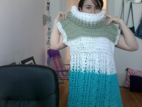 4 up on 2011 07 19 at 15.18 2 500x375 My Crochet (and Pattern Review): Sleeveless Cowl Neck Cable Dress