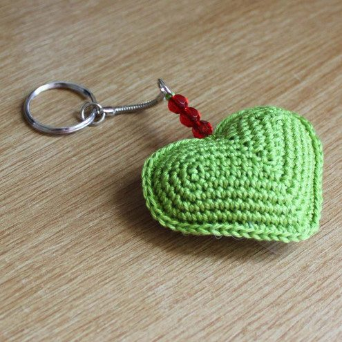 Apple Green Crochet Heart Keyring 01 Crochet Link Love!