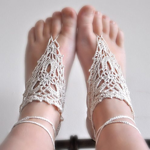Crochet Beaded Barefoot Sandal Pattern - MultiMania - Tua Homepage