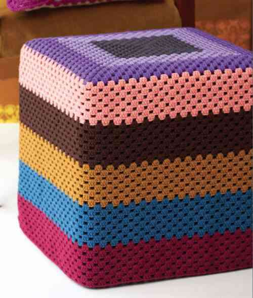 crochet ottoman 20 Things You Can Do with a Granny Square