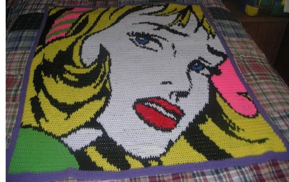crochet pop art Lichtenstein blanket