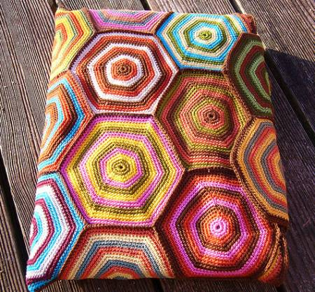colorful crochet cozy Evolution of a Crochet Hexagon Laptop Cozy (YOP)