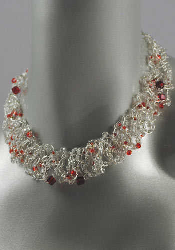 Crocheting Jewelry : This artistic wire crochet necklace is adorned with red Swarovski ...