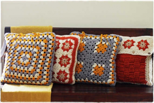 granny square pillows 500x333 Etsy Crochet Interview with Castaway Collection
