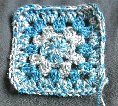 blue grey granny square The Magic of Two Toned F Hook Granny Squares