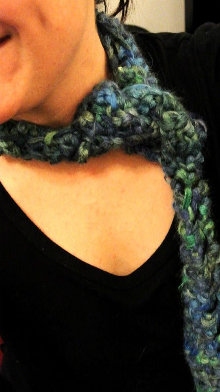 crochet blue green scarf