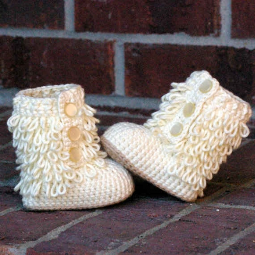 crochet booties 500x500 Etsy Crochet Pattern: Baby Booties