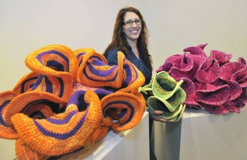 crochet math art 500x323 Yarnbombing Kicks Off Science Based Crochet Art Exhibit