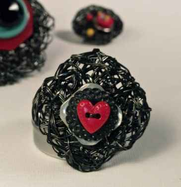 crochet plarn jewelry Recycled VHS Tape Crochet Artist Adrian Kershaw