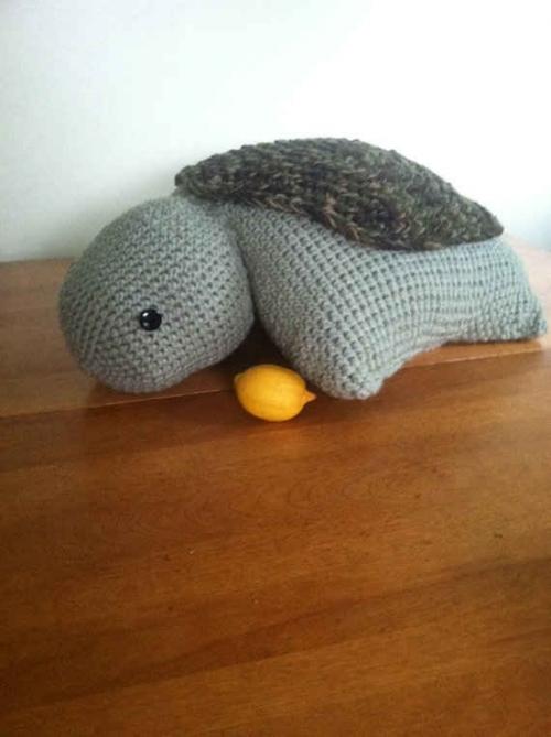 crochet turtle 500x669 Etsy Crochet: Turtle Pillow Pet