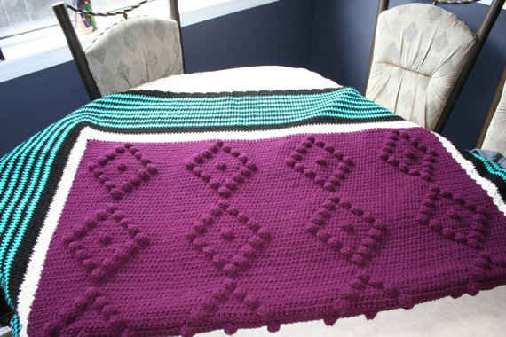 Post image for Etsy Crochet: Purple/ Teal Crochet Blanket