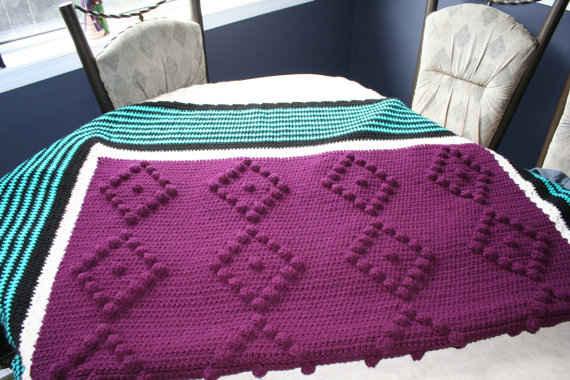 Etsy Crochet Purple Teal Crochet Blanket Crochet Patterns How