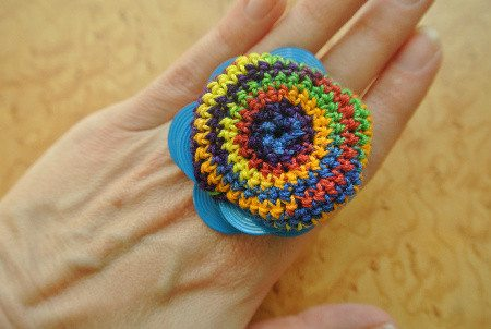 crochet ring1 365 Ways to Wear Crochet: Colorful Crochet Ring