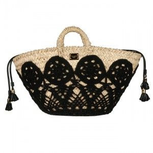 wicker tote with crochet detail1 More Dolce & Gabbana Crochet Handbags
