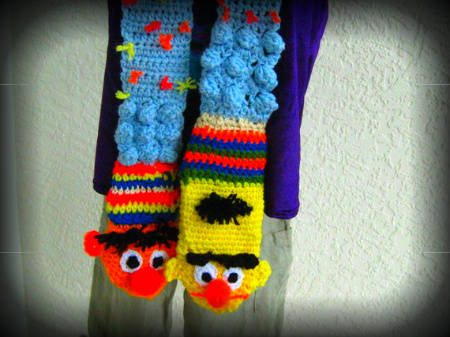 bert and ernie crochet scarf 100 Unique Crochet Scarves