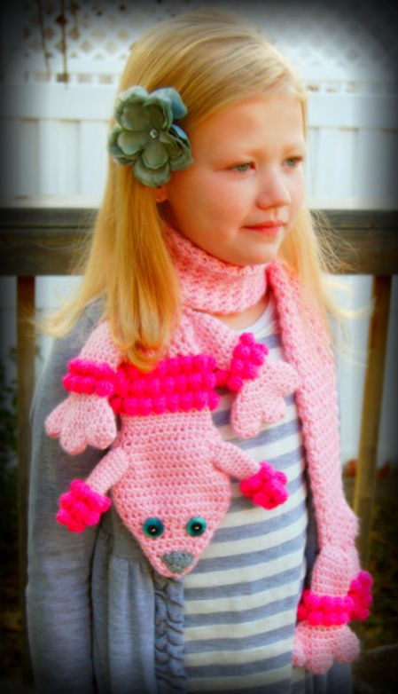 crochet poodle scarf pattern by missybdesigns Crochet Animal Scarves For Kids