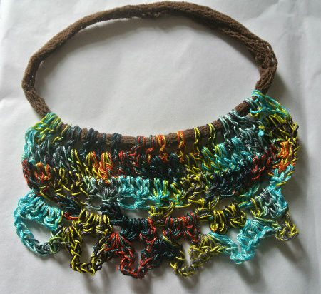 crochet necklace2 My Crochet: Fishnets Upcycled to Necklaces