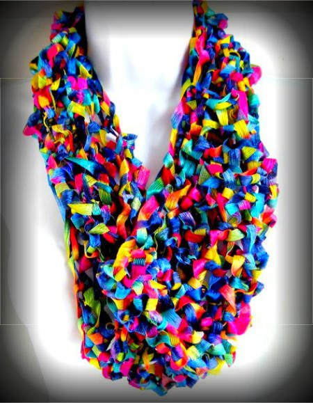 Free Knitting Pattern For Ribbon Scarf : Ribbon Yarn Scarf Pattern Crochet - Long Sweater Jacket