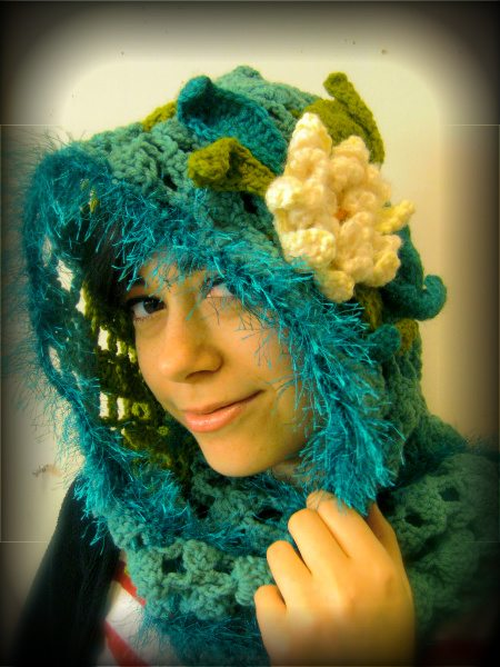 flower hooded crochet scarf 100 Unique Crochet Scarves