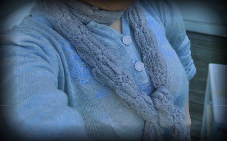 grey crochet scarf 365 Ways to Wear Crochet: Ribbon Scarf, Vintage Sweater