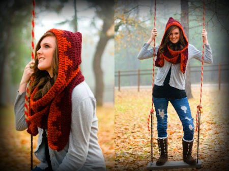 hooded crochet scarf2 100 Unique Crochet Scarves