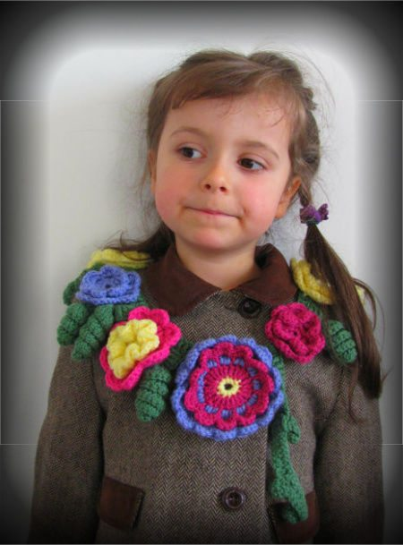 floral crochet kids scarf by princesaanastasia Crochet Hats And Scarves For Kids