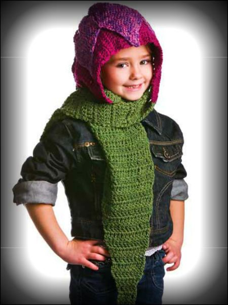 kids hooded crochet scarf 100 Unique Crochet Scarves