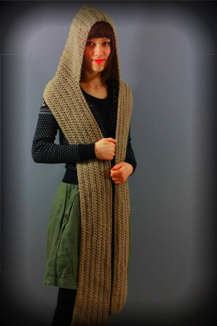 large crochet hooded scarf 100 Unique Crochet Scarves