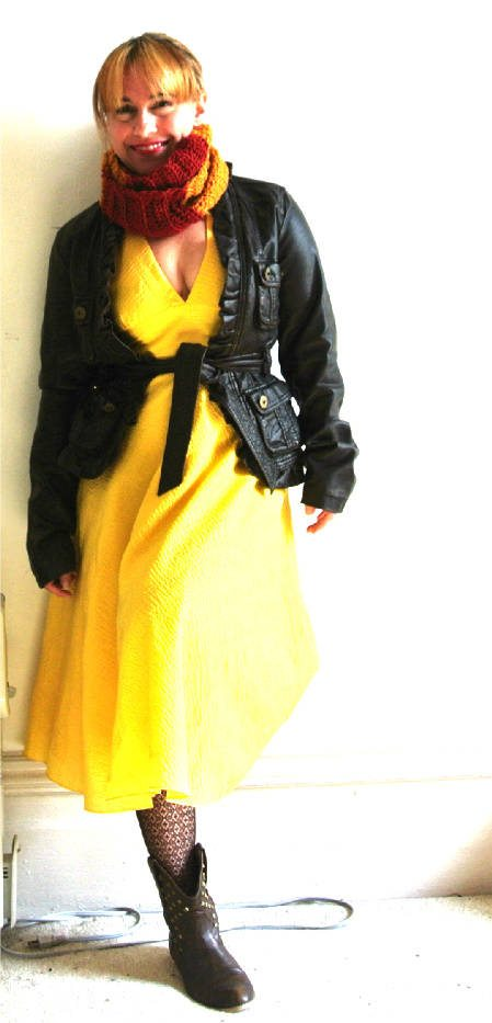 brown leather jacket style 8 More Ways to Style A Yellow Dress with Crochet