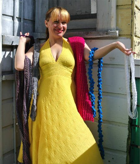 colored crochet scarves How to Match Your Crochet Scarf to A Yellow Dress