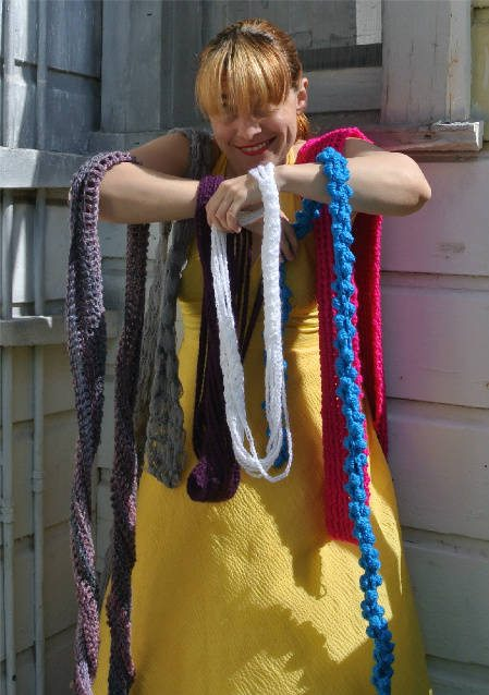 colorful crochet scarves