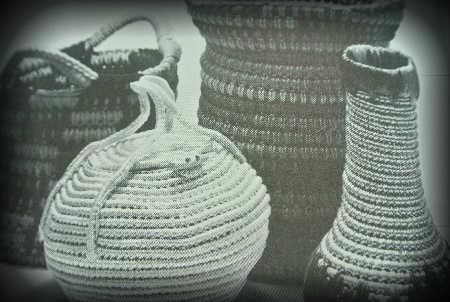 crocet spiral vases Edgy 1970s Crochet Designers: Del Feldman