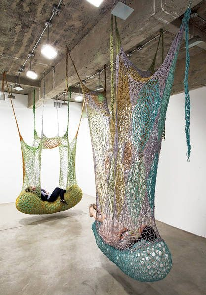 crochet art installation neto Ernesto Neto Crochet Nets Reminiscent of Horiuchis Crocheted Playground
