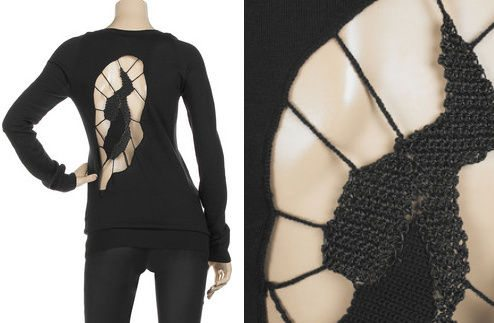 crochet back sweater Designer Crochet: Helmut Lang