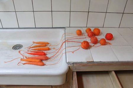crochet carrots Conceptual Crochet Artist Anu Tuominen
